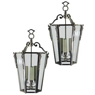 French Nickel Plated Glazed Tapering Lanterns - a Pair