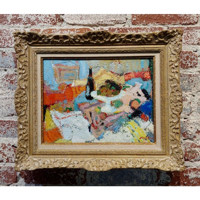 Wine George Rene Sinicki -A Bottle of Wine on a Busy Table -1950s Oil Painting For Sale - Image 8 of 8