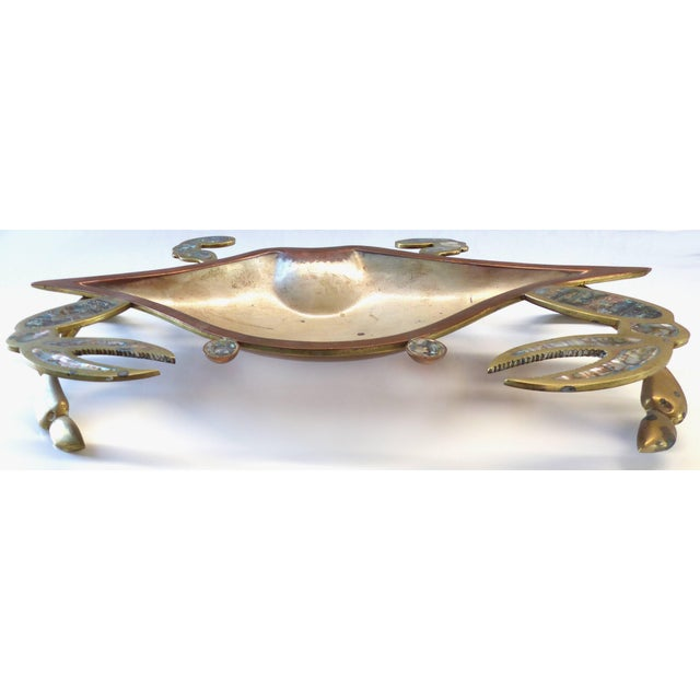 Monumental Los Castillos Style Abalone Metal Crab Bowl With Two Side Dishes For Sale In Miami - Image 6 of 11