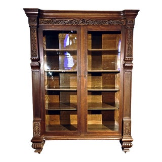 Elizabethan Revival Oak Bookcase/China Cabinet For Sale