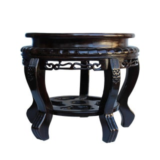 Chinese Brown Wood Handmade Round Table Top Stand Display Easel For Sale