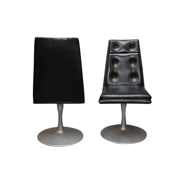 Mid-Century Modern Mid-Century Swivel Black Leather Chrome Chairs- A Pair For Sale - Image 3 of 8