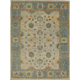 Handmade Oushak Design Rug - 10′ × 13′8″ For Sale