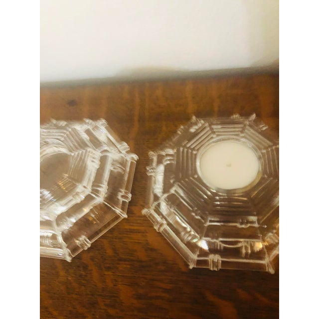 Vintage Glass Bamboo Pattern Tea Light Holders - a Pair For Sale In New Orleans - Image 6 of 8
