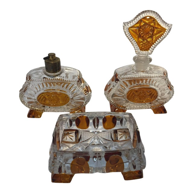 Art Deco Bohemia Karl Palda Crystal Vanity Set, 1930s For Sale