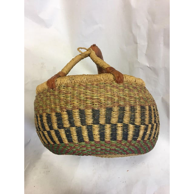 Oval Hand Woven Natural Grass Basket - Image 2 of 8