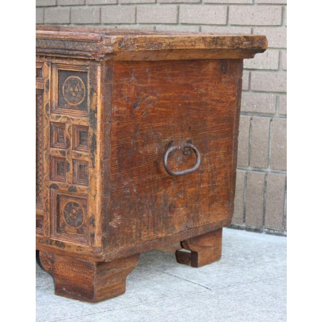 A Rustic Swiss Baroque Coffer or Dowry Chest For Sale - Image 4 of 7