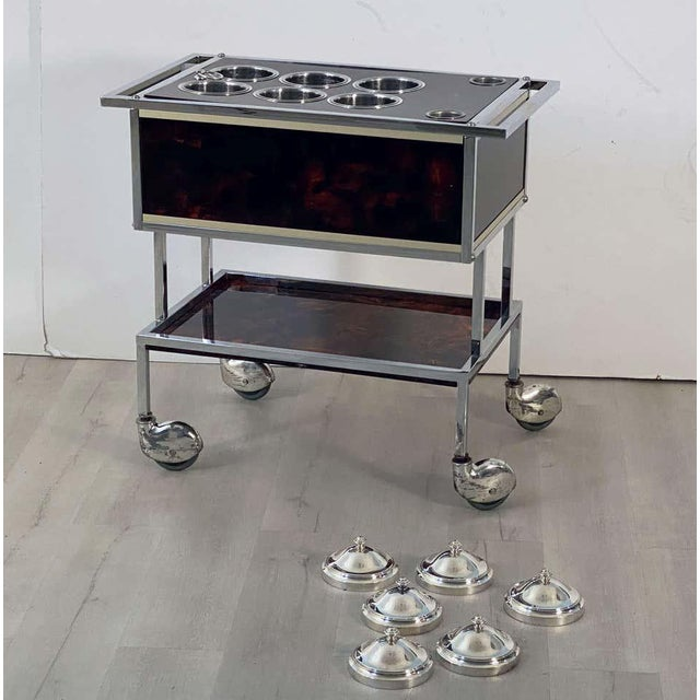 Italian Chrome and Faux Tortoise Ice Cream Cart For Sale - Image 4 of 13