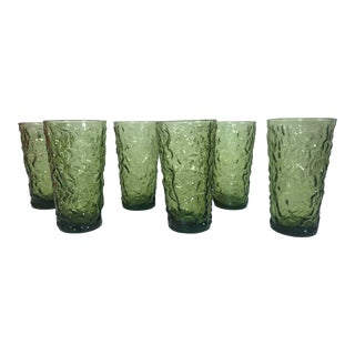 Green Tumbler Lava Glasses - Set of 6 For Sale