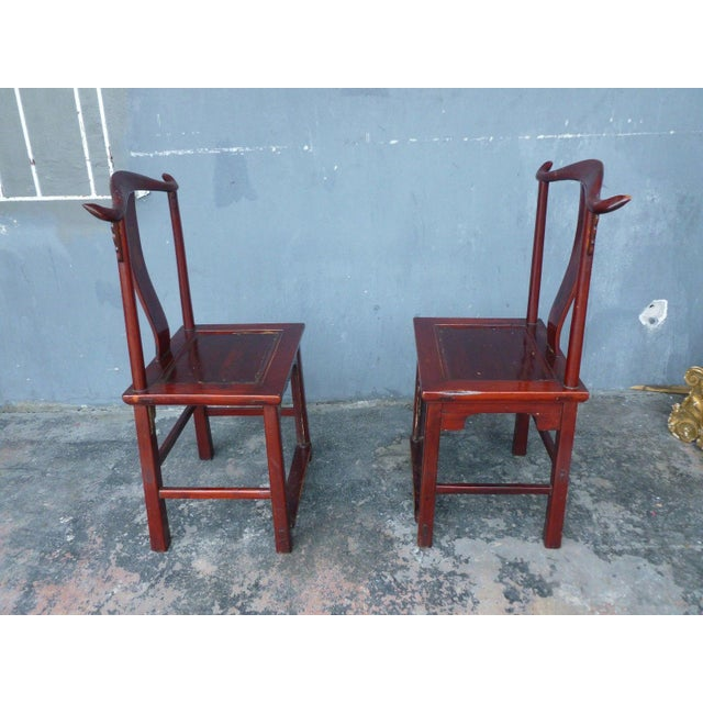 Wood Pair of 19th Century Red Lacquer Ming Chairs For Sale - Image 7 of 13