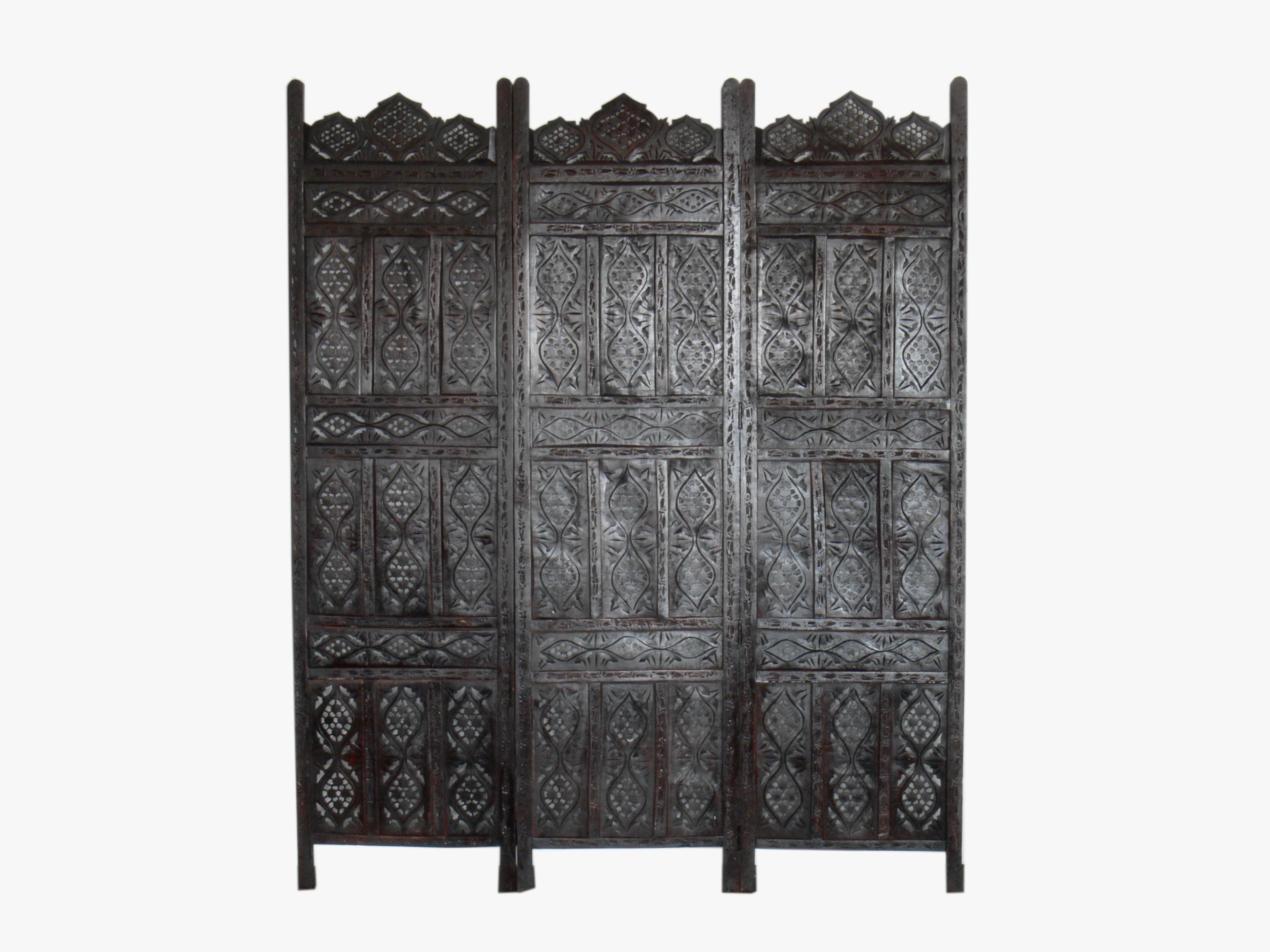 Mid Century Hand Carved Decorative Walnut 3 Panel Folding Screen