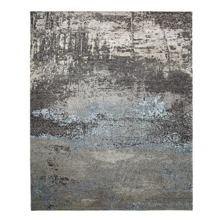 One-Of-A-Kind Contemporary Hand-Knotted Area Rug, Gray, 8' 11 X 11' 9 For Sale