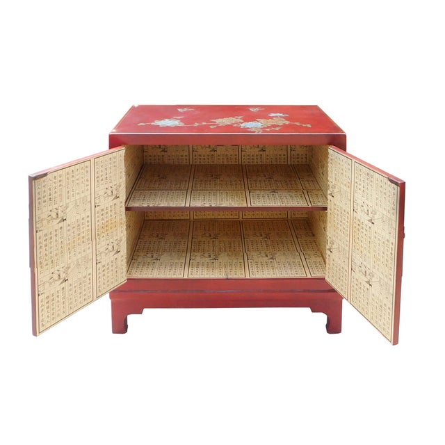 Oriental Red Vinyl Flower Side Table Cabinet - Image 5 of 7