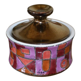 Marked Ceramic Sugar Bowl With Lid in Purple, Bronze & Shades of Maroon Color For Sale