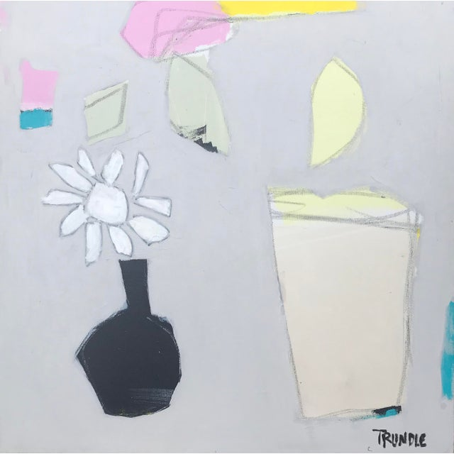"""Sarah Trundle, """"Happy Flowers"""", Contemporary Abstract Painting For Sale"""