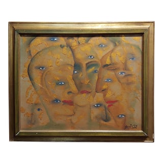 Many Eyes & Faces Cubist Oil Painting Signed by Janco For Sale