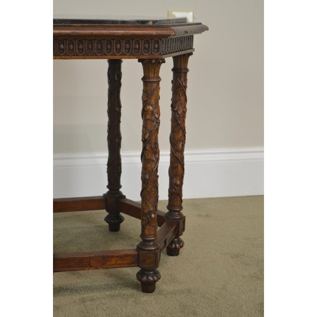 Antique Italian Carved Walnut Hexagon Marble Top Taboret Side Table For Sale - Image 4 of 13
