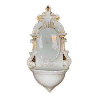 Mid 20th Century White & Gold Ceramic Holy Basin For Sale