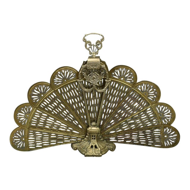 Vintage 1900's Victorian Peacock Brass Fireplace Screen Summer Cover For Sale