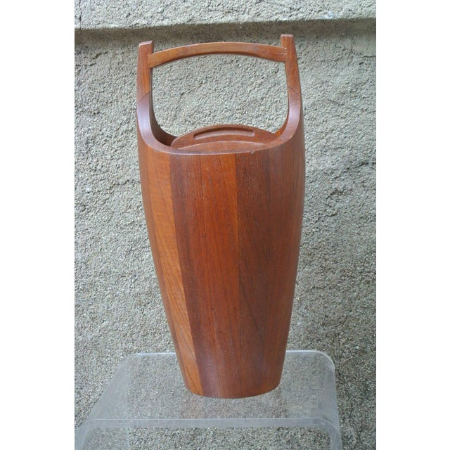 Large Teak Ice bucket with Red Acrylic liner for Dansk