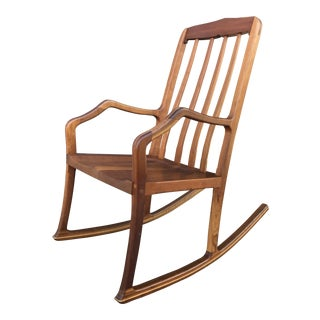 American Studio Walnut Rocking Chair Craft Movement For Sale