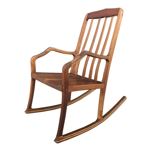 American Studio Walnut Rocking Chair Craft Movement For Sale