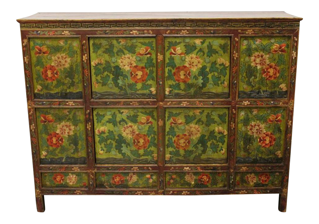 Floral Painted Tibetan Cabinet