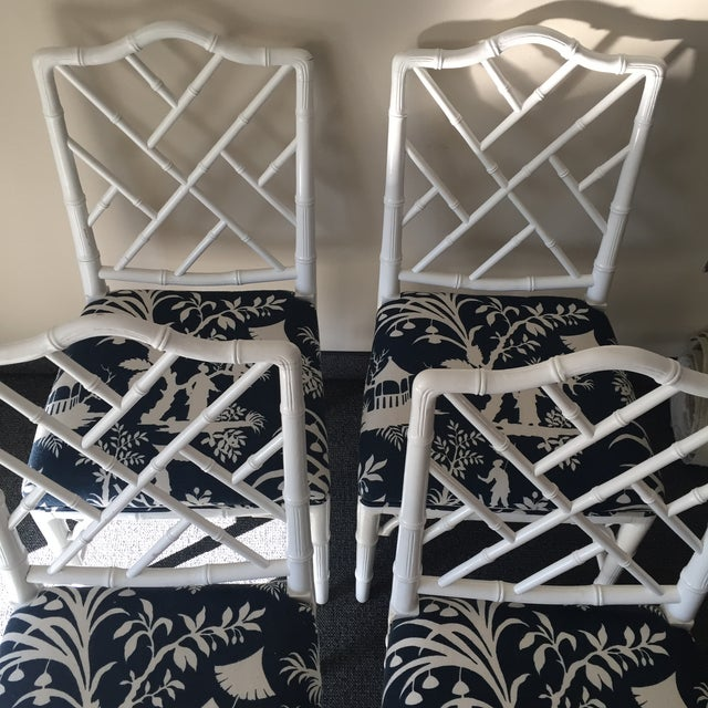 Chippendale White Bamboo Chairs - Set of 4 - Image 8 of 8
