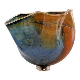 Robert Rynearson Ryno Glass Hand Blown Art Glass Vase, Signed For Sale
