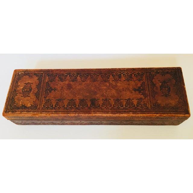 """Brown French Antique Glove Box by """"A La Marquise De Sevigne Paris"""" For Sale - Image 8 of 12"""