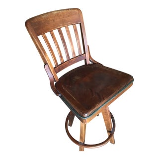 Early 20th Century Antique Brown Bar Stool For Sale