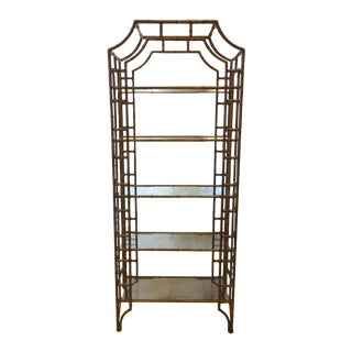 Mid-Century Modern Brass Faux Bamboo Etagere For Sale