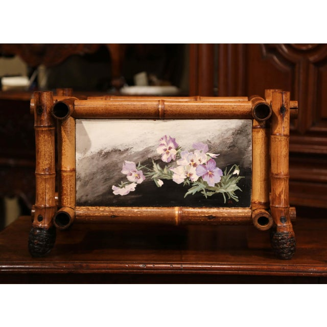 Purple Early 20th Century French Bamboo With Hand Painted Floral Tiles Jardinière For Sale - Image 8 of 12