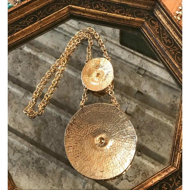 Vintage 1970s Egyptian Revival Modernist Gold Two Medallion Pendant Statement Necklace For Sale - Image 4 of 6