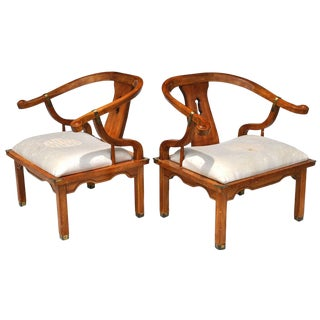 Pair of Vintage Ming Style Century Chin Hua Horseshoe Lounge Chairs For Sale