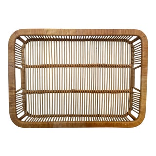 Vintage Natural Woven Bamboo Rattan Bar Tray For Sale