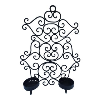 Black Wrought Iron Wall Hanging Candle Holder