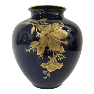 Cobalt Porcelain Vase With 22 Carat Gold Floral Motif by A. K. Kaiser W Germany For Sale