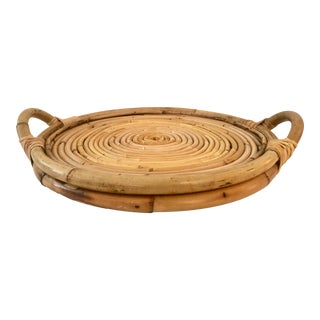 Round Vintage Bamboo Tray For Sale