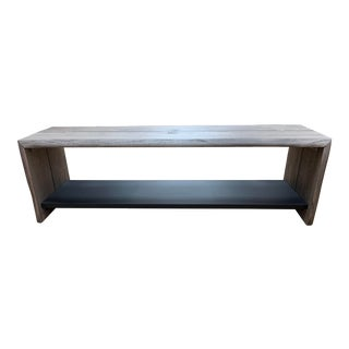 Crate & Barrel Yukon Gray Bench + Shelf For Sale