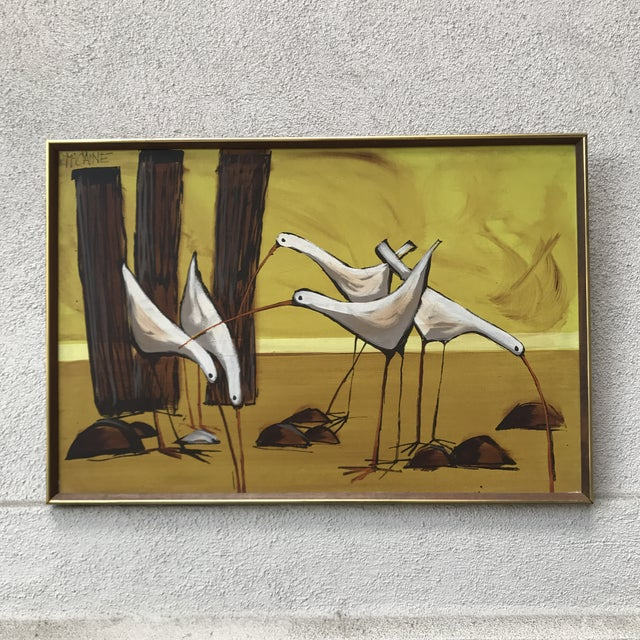 Large collectable painting of Seagulls by 1960s - 70s Painter. Beautiful 70s golden yellows and chocolate tones. Large...