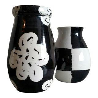Modern Italian Bitossi Ceramic Vases - a Pair For Sale