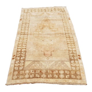 """1950s Vintage Turkish Oushak Hand-Knotted Rug-2'9'x5'9"""" For Sale"""