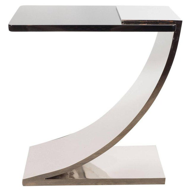 Sophisticated Modernist Polished Nickel and Black Lacquer Side or Drinks Table - Image 8 of 8