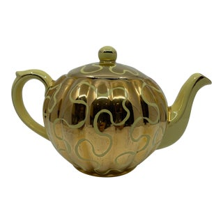 1960s Vintage Gold Ribbon Tea Pot For Sale