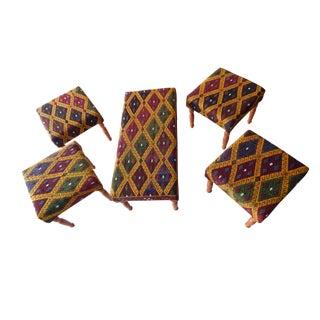 Set of 5 Turkish Kilim Bench, Kilim Bench Upholstered With Vintage Turkish Kilim Rug, Ottoman Footstool For Sale