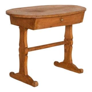 Antique Primitive Oval Pine Side Table For Sale