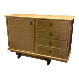 Mid-Century Dal Vera Rattan Side Cabinet For Sale