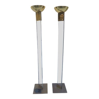 1970s Italian Architectural Skyscraper Lucite and Brass Floor Lamps - a Pair For Sale
