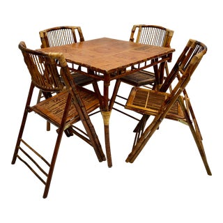 1940s Vintage Scorched Tortoiseshell Bamboo Table With Four Folding Chairs - 5 Pieces For Sale